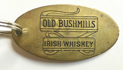 Vintage Old Bushmills Irish Whiskey Large Brass Key Fob