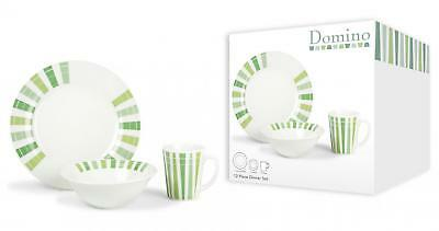 12Pc Domino Green Porcelaine Dinner Set 4 Plates 4 Bowls 4 Mugs Eating Food Home