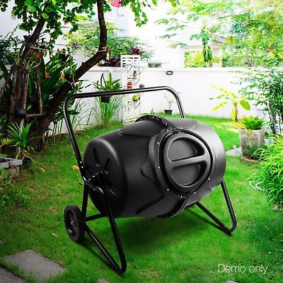 New 190L Aerated Compost Tumbler Bin Food Waste Garden Recycling Composter Black
