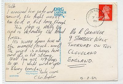 FALKLAND ISLANDS: 1989 postcard with FORCES POST OFFICE postmark (C24891)