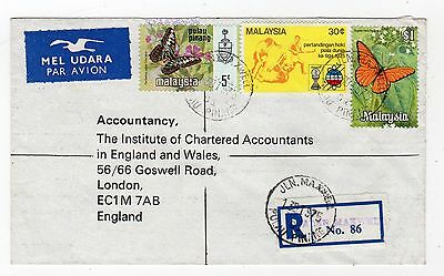 MALAYSIA: 1975 Registered Airmail cover to London (C25140)