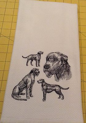 Irish Wolfhound Collage Sketch Embroidered Williams Sonoma Kitchen Towel, XL
