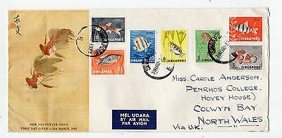 SINGAPORE: 1962 New Definitives First Day cover to North Wales (C25185)