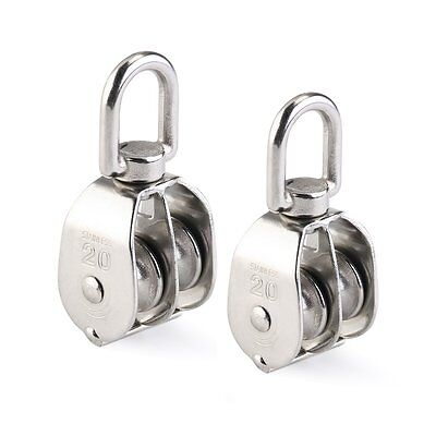 WINOMO Double Pulley Block 2pcs Stainless Steel 304 Double Swivel Pulley Block