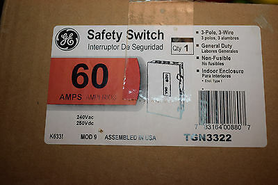 NEW! General Electric GE  Disconnect Switch 60 Amp 240 Volt 3 Pole