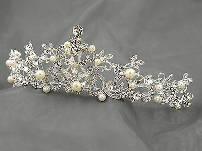 Austrian Crystal Rhinestone Pearl Tiara Crown Bridal Party Pageant 00274 Silver