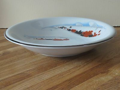 Vintage Chinese Porcelain Serving Bowl, With Hand Painted Koi Fish, Signed