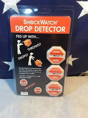 NEW ShockWatch 2 DROP DETECTOR 3 Pack (75G--Packages 0-50LBS)