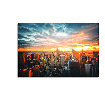 New York City Sunset Cityscape Silk Cloth Poster Picture Home Wall Decor 90x60cm