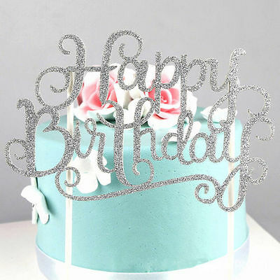 2Pcs Gold Silver Cake Topper Happy Birthday Party Supplies Decorations Dazzling