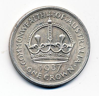1937 About Uncirculated Australia 1 Crown - Silver