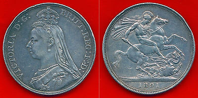 Decent 1891 VICTORIA Silver Crown KM# 765 Great Britain Strong Extra Fine XF EF