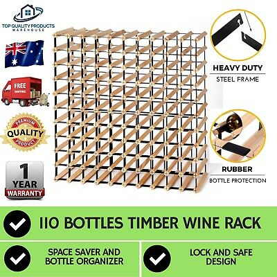 110 Bottle Timber Wine Rack Storage Cellar Solution Professional Organiser Stand