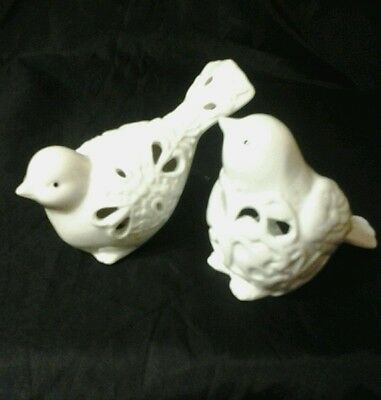 Pair of White Porcelain Reticulated Bird Figurines~Unique cut out work