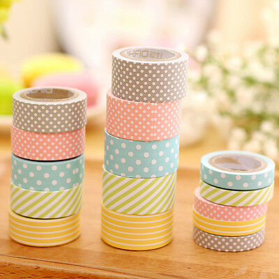 5 Rolls Colorful Washi Tape Decorative Sticky Paper Masking Tape Adhesive Comely