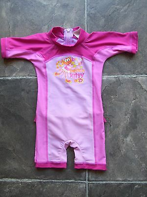 Baby Girl's Bright Bots Rashie/Rash Suit/Swimmers Size 00 VGUC