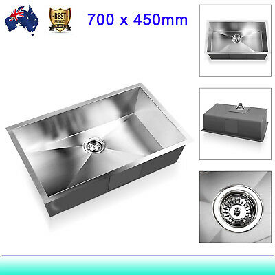 Handmade Stainless Steel Single Bowl Inset Bar Kitchen Laundry Sink 700 x 450mm