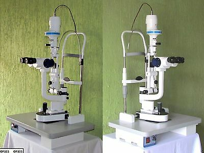 HIGH Slit Lamp 3 Step Haag Streit Type With Wooden Base Free Ship WorldWide