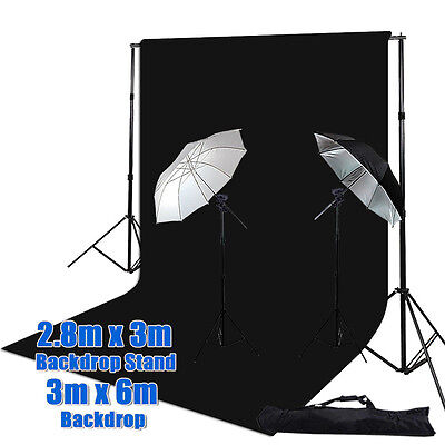 Video Umbrella Light Holder Mount B Lighting Stand 3x6m Chromakey Black Backdrop