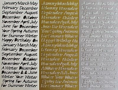 Calendar Months & Seasons PEEL OFF STICKERS Your For Month Season Cardmaking