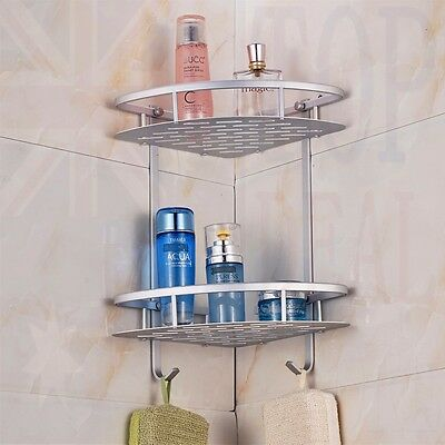 2 Tiers Shower Caddy Shelf Bathroom Corner Rack Storage Holder Hanger Aluminum