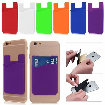 Silicone Adhesive Stick Credit Card Holder Slot Stand Shell Case For Phone