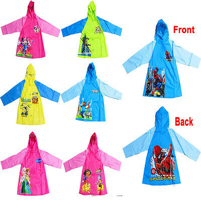 New Sz 3-7 Kids Raincoat Jacket Boys Girls Hoodie Cover Rain Weather Children