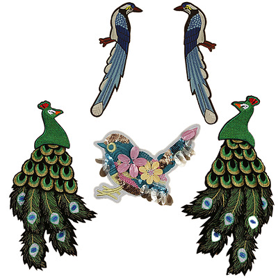 Bird Peacock Embroidered Patches Sequins Beads Appliques Exquisite Patch