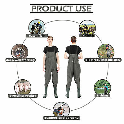 Breathable PVC CHEST WADERS 100% WATERPROOF FLY COARSE FISHING MUCK WADER BOOT