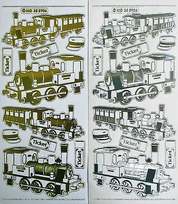 Double Embossed Clear Steam Locomotive Trains PEEL OFF STICKERS Train