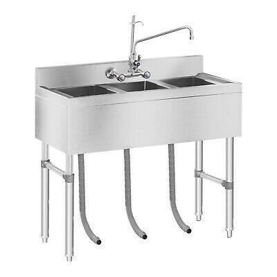 Commercial Kitchen Sink Three Basin Catering Sink Stainless Steel Three Bowls