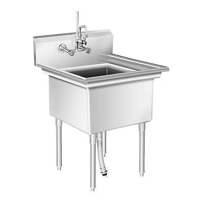 Commercial Kitchen Sink Large Basin Catering Sink Stainless Steel 75X75X111Cm