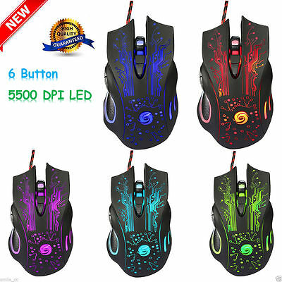 6 Pulsante 5500 DPI LED Ottico USB Wired Gaming PRO Mouse Mice Per PC Laptop