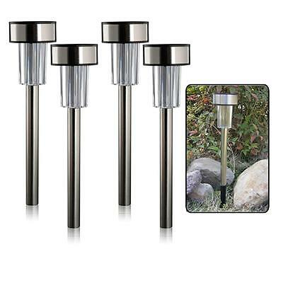 Set of 4 - Stainless Steel Solar Path Marker / Garden Lights