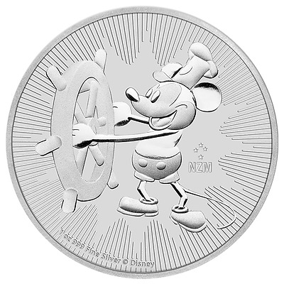2017 Niue Steamboat Willie Mickey Mouse Disney Coin 1 Oz .999 Silver BU