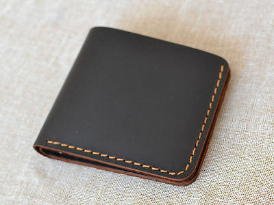 Handmade Sewing stitch Men's Leather Wallet Bifold Wallet Genuine Leather