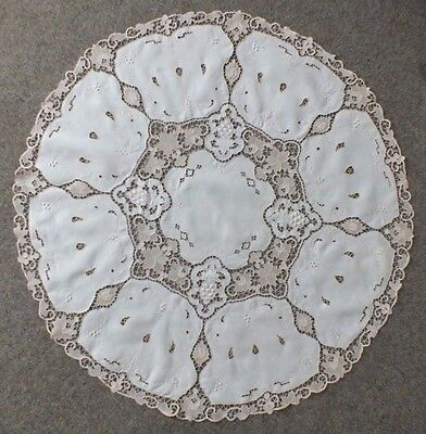 """EMBROIDERY IVORY Linen MADEIRA Tablecloth Cutwork Needle Lace ROUND 123 cm 49"""""""