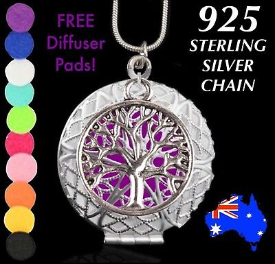 Tree of Life Aromatherapy Essential Oil Diffuser Pendant Necklace + FREE Pads