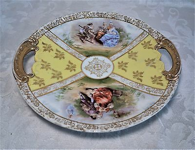 """Antique 19th Century Austrian Porcelain Plate Tray Hand Painted F.R. Stahl 10"""""""