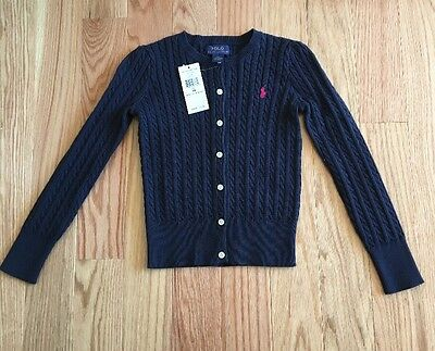 NEW Ralph Lauren Girls Cable Knit Cardigan Sweater Navy Blue Size 6X