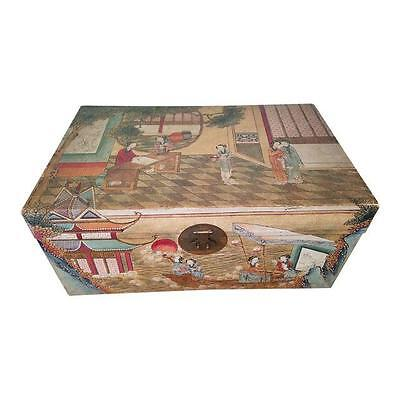 Antique 1900 Chinese Handpainted Pigskin Wedding Trunk Chest Courtesans Boating