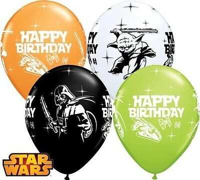 "11"" Star Wars Happy Birthday Latex Balloons Qualatex Party Decoration Assortment"