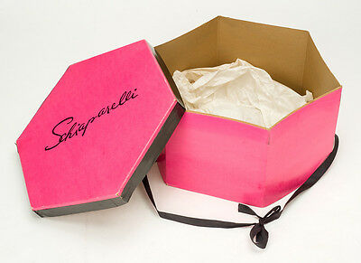Vintage SCHIAPARELLI women's PINK HAT BOX hexagon-shaped 1950s
