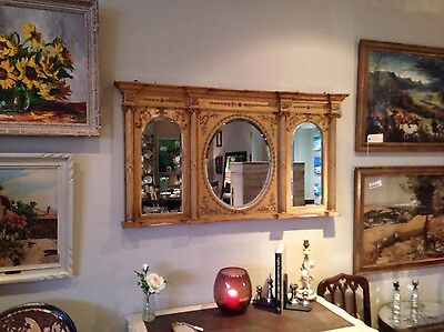 C19th Water Gilded Overmantle Mirror
