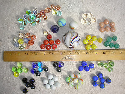 110 Vintage Marbles Lot Corkscrew Cat Eyes Specked Solids+ with Shifter Knob