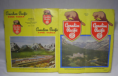 Two Vintage Candian Pacific Railroad Time Tables 1948 and 1955 Train Schedules