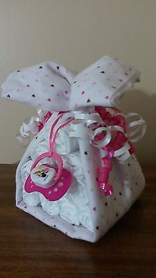 Diaper Cake Stork Bundle Hearts Baby Shower Gift for Girl