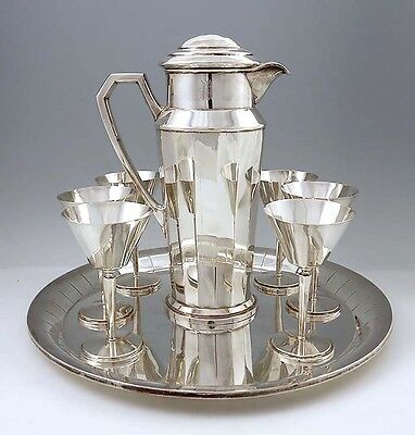 American Sterling COCKTAIL SET ON TRAY Frank Smith ART DECO