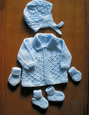 baby blue matinee set new 0 to 3 months hand knitted coat hat booties mitts
