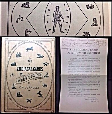 1902 Grace Angela Zodiac Astrology Fortune Telling Playing Cards Book & Chart